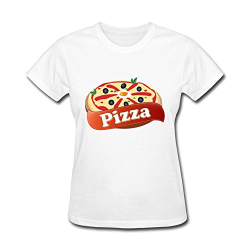 Libling Women's Pizza logo T Shirts X-Large White