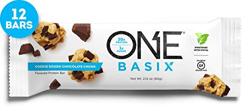 ONE Basix Protein Bar, Cookie Dough Chocolate Chunk, 12 Count, Gluten-Free Protein Bar with 20g Protein and only 1g Sugar, Guilt Free Snacking for High Protein Diets