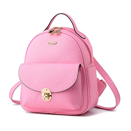 Fayland Women Teens Girls Womens Backpack Purse Leather Mini Casual Daypack Laptop Bag Pink