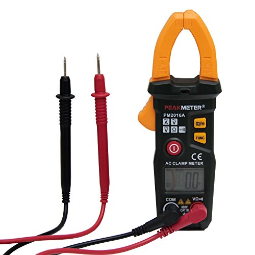 PEAKMETER PM2016A Digital Clamp Meter Auto-Ranging Multimeter with AC DC Voltage AC Current Resistance Capacitance Tester Black