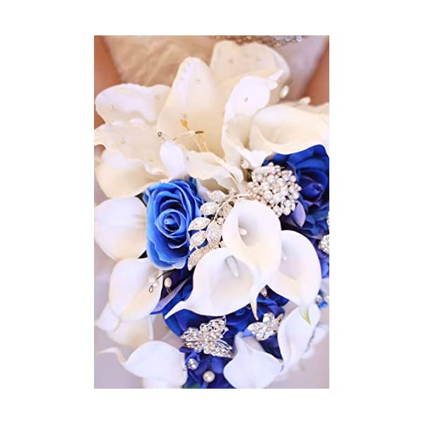 entertainment-moment-flower Royal Blue Artificial Bride Flowers Waterfall Wedding Bouquet with Crystal Bridal Brooch Bouquets De,Royal Blue