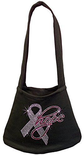 Rhinestone Hope Pink Ribbon Breast Cancer Awareness Shoulder Bag (One Size, Black) Breast Cancer Awareness Bags