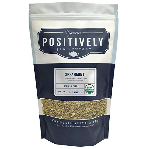 (Positively Tea Company, Organic Spearmint Leaf, Herbal Tea, Loose Leaf, USDA Organic, 1 Pound Bag)