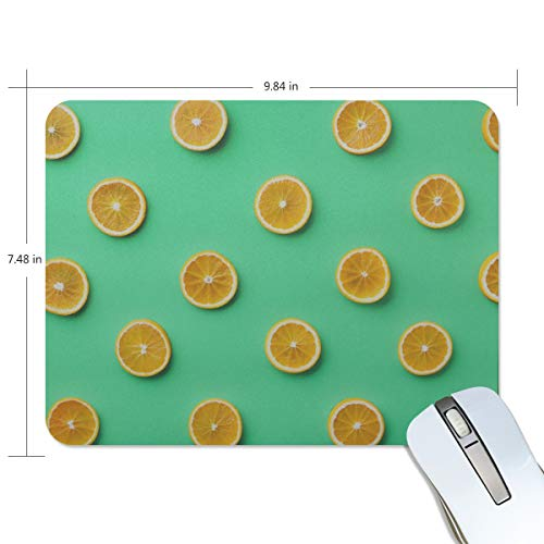 Fashion Retro Unique Custom Mousepad Lemon and Orange Clementine Twig Fruits Delicious Winter Vitamin Design Printing Non-Slip Rectangle Natural Rubber Fabric Mouse Mat Gaming Mouse ()