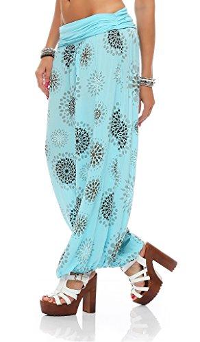 ZARMEXX Señoras de los bloomers de los pantalones pantalones harén pantalones de verano por toda impresión One Size azul claro