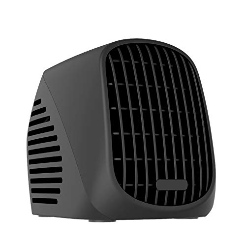 (NEXGADGET Mini Space Heater, 500W Portable Ceramic Heater for Office Home Dorm Tabletop, Ultra Quiet Desktop Heater with Turbofan Technology, Overheat Protection-Black )