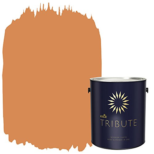 KILZ TRIBUTE Interior Satin Paint and Primer in One, 1 Gallon, Bright Marigold (TB-95)