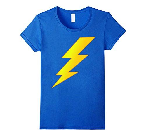 [Women's Lightning Bolt last minute Halloween costume shirt XL Royal Blue] (Thunder Lightning Costume)