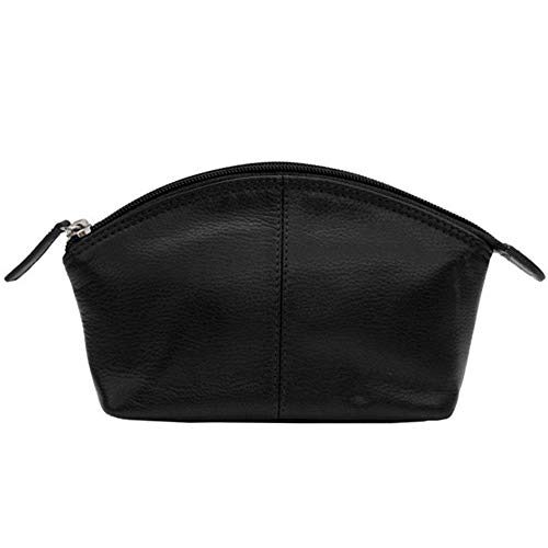 CCFW Womens 100%m Genuine Leather Cosmetic Pouch (Black)