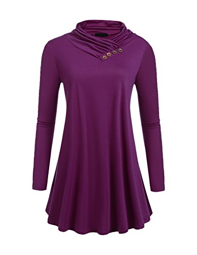 Yitrend Women's Long Sleeve Cowl Neck A-line Casual Tunic Top Blouse,Small,Purple