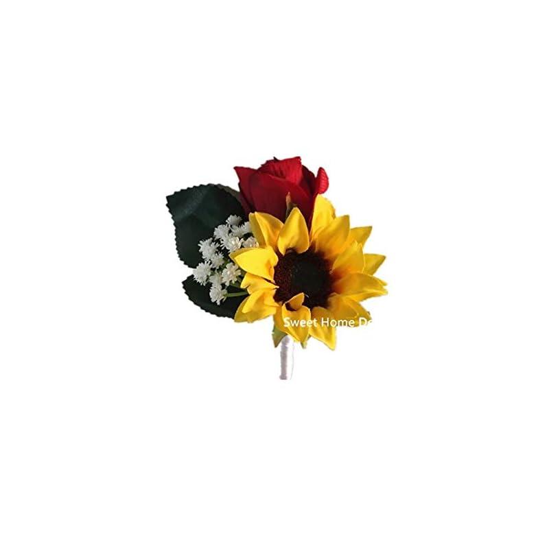 silk flower arrangements sweet home deco silk sunflower rose babysbreath wedding bouquet bridal bouquet bridesmaid bouquet boutonnere in yellow/red (yellow/red-boutonniere)
