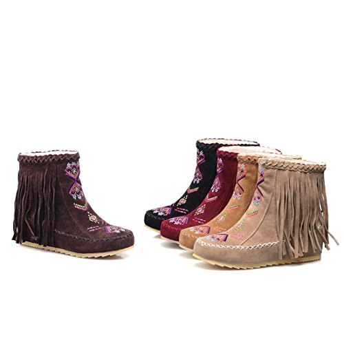 Ankle Casual Size MFairy Womans Fashion Boots Boots Spring Heel Red Tassel Hidden Autumn Plus PqYHIrq