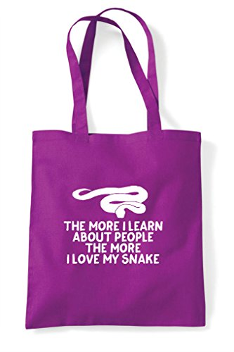 Learn Lover About Bag My Magenta Funny Pets Shopper Tote Animal I More People The Snake Love Person EqWfFvEp