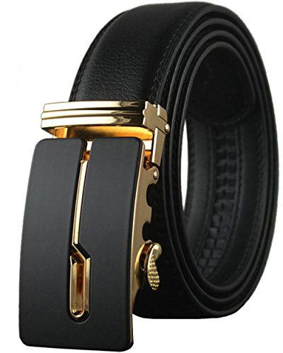 REGITWOW Men's Leather Belts Sliding Buckle 35mm Ratchet Belt for Men