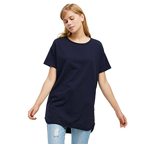 ZAN.STYLE Women's Loose Fit Tagless Long T-shirt, Crew Neck and Short Sleeves (Small, Navy)