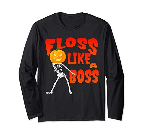 Floss Like a Boss Skeleton Halloween Pumpkin Head T Shirt
