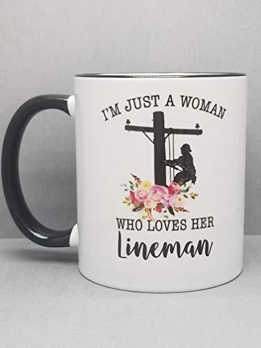es Her Lineman Sublimated Mug. 2 Sided 11 oz. Floral Accent ()