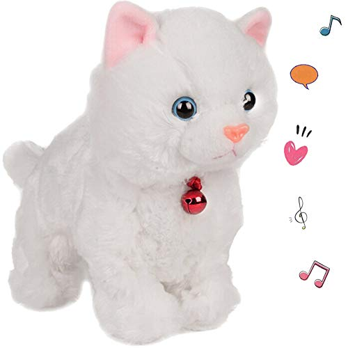 (Smalody Plush Cat Walking Pet Sound Control Electronic Cat Interactive Toys Electronic Pets Robot Cat Stand Walk Electronic Toys Best Gift for Girls Baby Children (White))