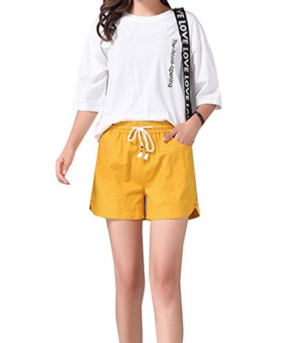corti Pantaloncini vita Pantaloncini sportivi da donna estivi alta pantaloni eleganti eleganti Giallo estate donna corti shorts Runyue Adwq7467