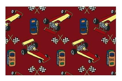Pit Stop Race Car Red Multi - 3'x5' Custom Stainmaster Premi