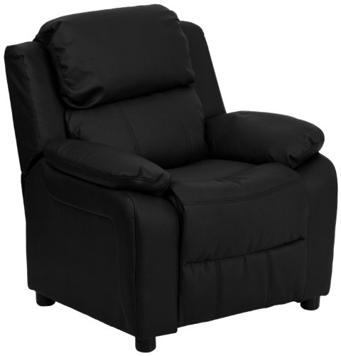 Leather Deluxe Recliner (Flash Furniture Deluxe Padded Contemporary Black Leather Kids Recliner with Storage Arms)