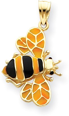 Enameled Bee Charm - Quality Gold Bumble Bee Charm, 14K Yellow Gold