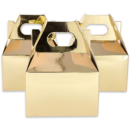 Blue Panda 36-Pack Mini Gold Foil Party Goody Boxes for Favors, Treats, 4 x 2.5 Inches