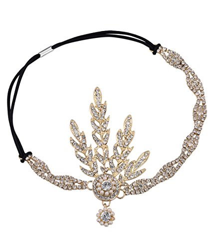 BABEYOND Art Deco 1920's Flapper Great Gatsby Inspired Leaf Medallion Pearl Headpiece Headband Golden