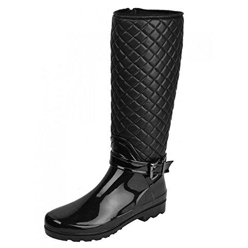trapuntato pelliccia alto di zip Ladies foderato wellington stivali Nero ginocchio qvwRa7