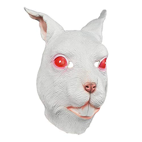 Realistic Rabbit Latex Mask Animal Full Head Costume Halloween Masks (Red Eyes Rabbit)