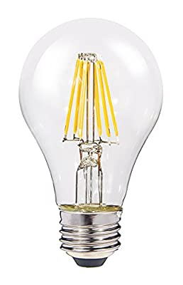 ClearlyLED Filament LED Light Bulb, 6.5w 810 lumens standard A19 design, 2700k light color, shatter resistant coating, long life and dimmable, Clear, 1-Pack