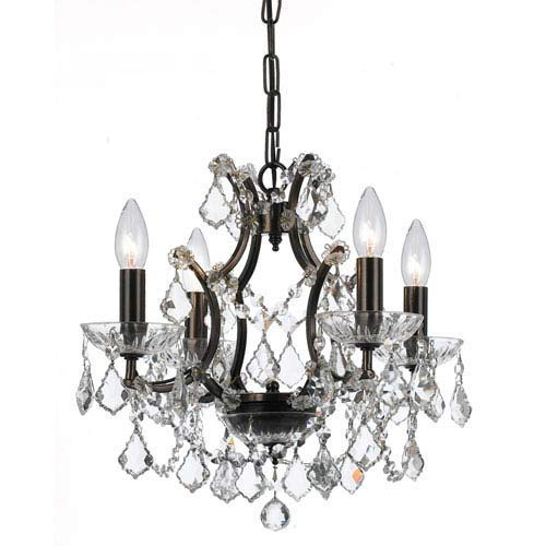 Crystorama 4454-VZ-CL-MWP Crystal Four Light Chandeliers from Filmore collection in Bronze/Darkfinish,