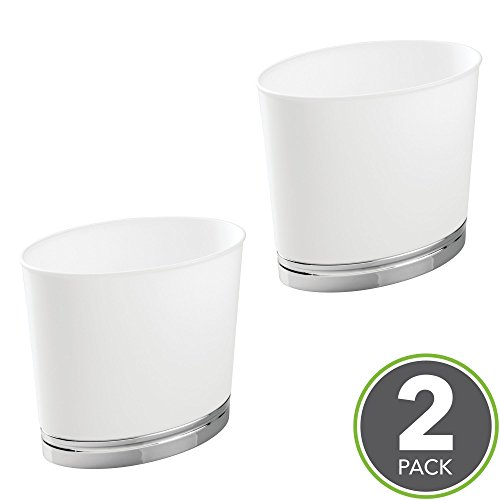 mDesign Oval Slim Decorative Plastic Small Trash Can Wastebasket, Garbage Container Bin for Bathrooms, Kitchens, Home Offices, Dorm Rooms - Pack of 2, White/Chrome Finish - Oval Container