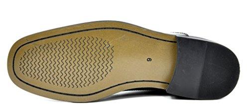 Bruno Marc Men's Ceremony-05 Black Faux Patent Leather Dress Oxfords Loafers Shoes – 9.5 M US