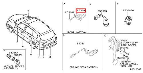 Switch Assy Door (Infiniti Genuine Switch Door Switch Assy 25360-3UB0A QX80/QX56 QX60/JX)