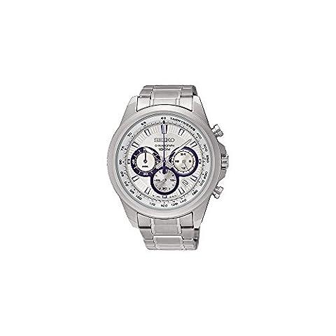 Seiko Neo Sports Chronograph White Dial Mens Watch SSB239 - Chronograph White Dial