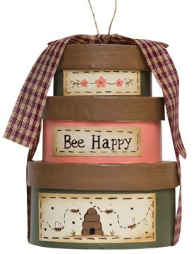 Bee Happy Box Ornament Stacked Papier Mache Flowers Ribbon Country Primitive Décor