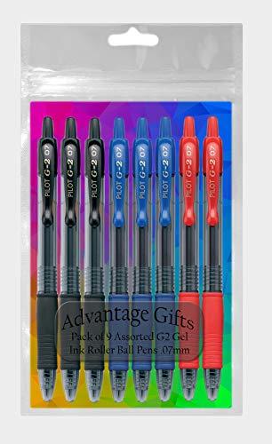 Pilot G2 Retractable Premium Gel Ink Roller Ball Pens, Fine Point, 9-Pack, Black/Blue/Red Inks ()