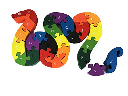 BayShow Wooden Alphabet Puzzle - Snake Letters Numbers Block Toys for Kids, Learn ABCs and 123s, Non-Toxic Paint by BayShow