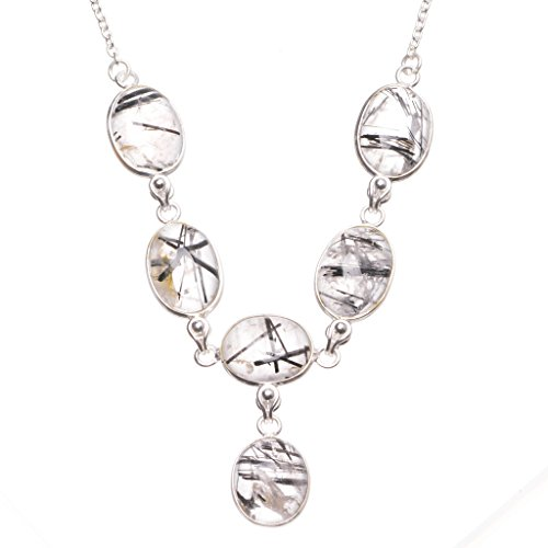 Natural Tourmalinated Quartz Handmade Boho 925 Sterling Silver Y Necklace 15.5