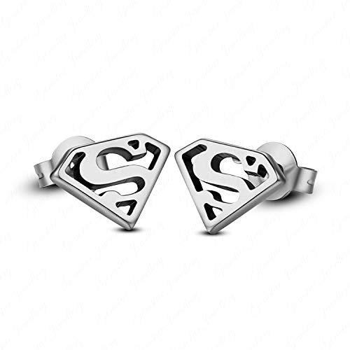 Gemstar Jewellery 14K Gold Plated 925 Sterling Silver Justice League Superman Stud Earrings Push Back]()