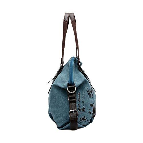 Femmes Voyage Main Sac Bleu Rétro Besace pour D'épaule Toile ZongSen Sac à pour Style en Sac I6qwCCY