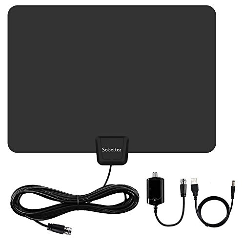 HDTV Antenna,Sobetter 50 Mile Range Digital TV Antenna with Detachable Amplifier, USB power supply and 13.2ft Coax Cable,12 months warranty(Updated version)