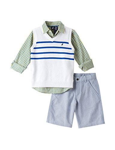 Nautica Toddler Boy's 3pc Striped Sweater Vest/ Short Set, White (4T) ()