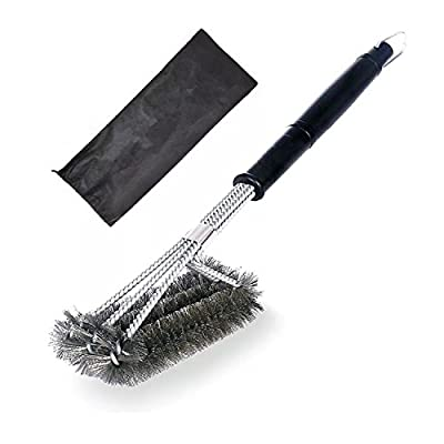 "Grill Brush ,Ahere 18"" BBQ Brush Cleaner 3 in 1 Stainless Steel Barbecue Grill Brush with Bristles for Grill Grates"