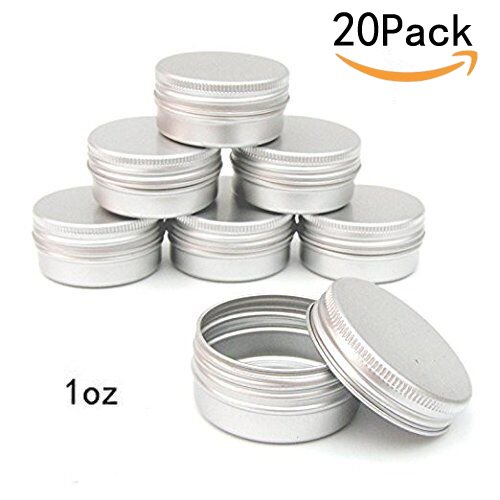 CTKcom 1-Ounce Metal Steel Tins Screw Top Flat Aluminum Silver Slide Round Tin Containers For Lip Balm,Crafts,Cosmetic,Candles,Travel Storage Kit (Pack of 20)