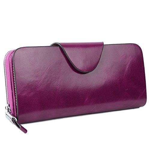 YALUXE Women's RFID Blocking Large Tri-fold Leather Wallet Ladies Luxury Zipper Clutch Fuchsia by YALUXE (Image #8)'