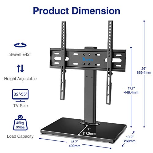 Rentliv Wooden Base Universal TV Stand- Swivel Tabletop TV Mount Stand for 37 to55 inch TVs, Height Adjustable TV Base Stand, Max VESA 400x400mm