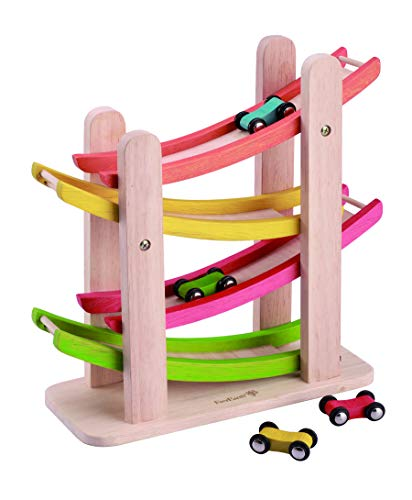 EverEarth Jr. Ramp Racer. Race Track for Toddlers and 4 Wood Cars, Race Car Ramp Set (Click Clack Track)