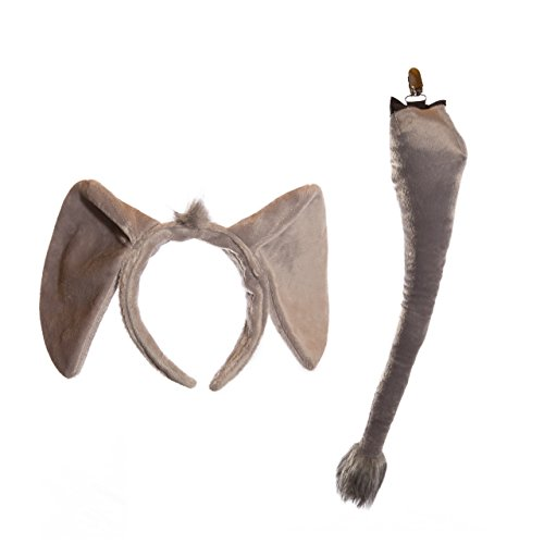 Life-like Elephant Ears Headband and Tail Set for Zoo Animal Party and Elephant Costume Cosplay (Elephant Kids Costume)